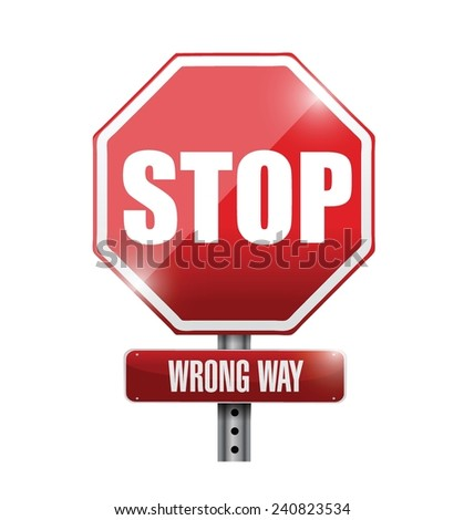 stop. wrong way street sign illustration design over a white background - stock vector