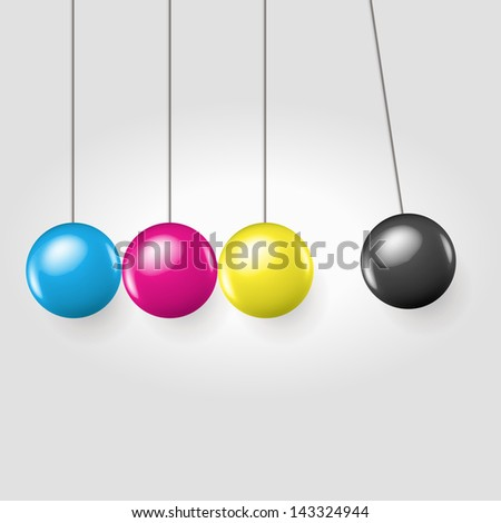 Stopped moment with polished eternal moving line of balls - concept vector illustration - stock vector