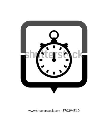 Stopwatch - black vector icon; map pointer;  message bubble - stock vector