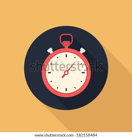 stopwatch flat style vector icon - stock vector