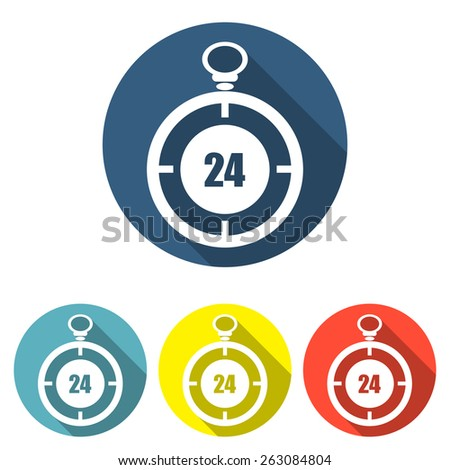 Stopwatch 24 flat vector illustration on different backgrounds - stock vector