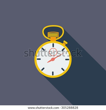 Stopwatch icon. Flat vector related icon with long shadow for web and mobile applications. It can be used as - logo, pictogram, icon, infographic element. Vector Illustration. - stock vector