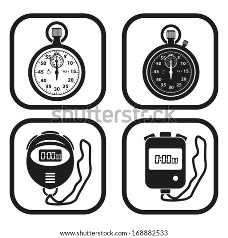 digital stopwatch clipart. stopwatch icon four variations digital clipart