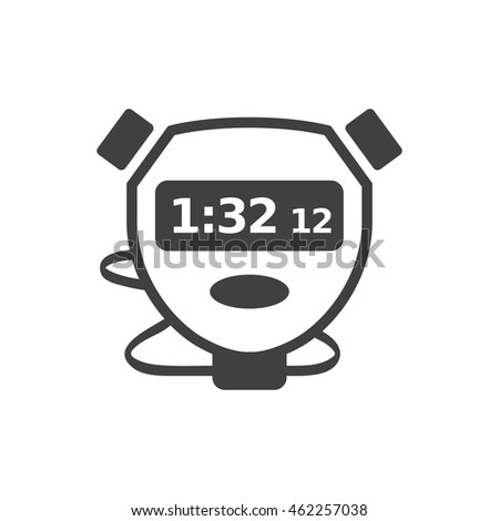 Stopwatch icon in single grey color. Speed, time, deadline