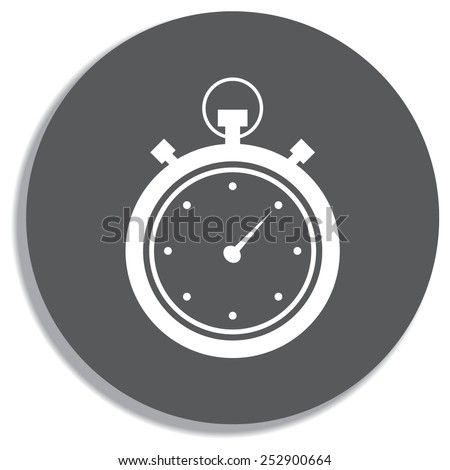 Stopwatch icon on a grey background - stock vector