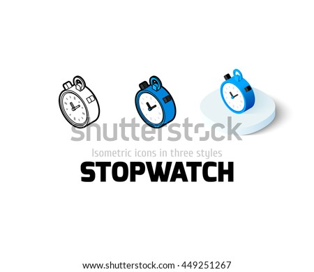 Stopwatch icon, vector symbol in flat, outline and isometric style