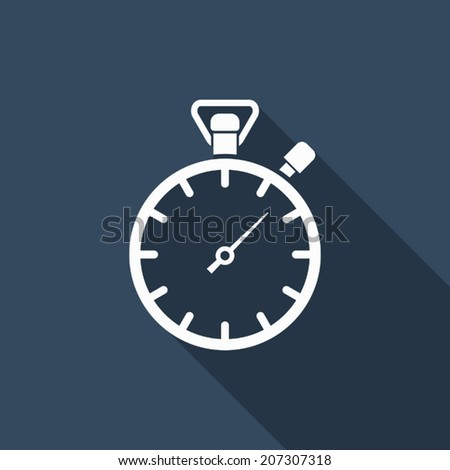 stopwatch icon with long shadow - stock vector