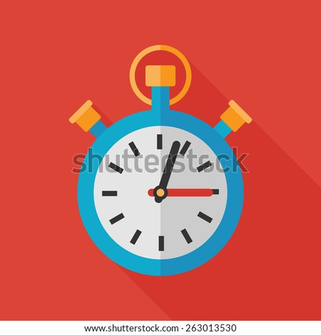 stopwatch icon with long shadow. flat style vector illustration - stock vector