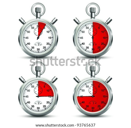 Stopwatch in different position. Vector - stock vector