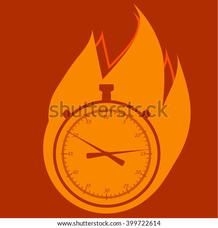 Stopwatch in fire. Vector, isolated, simple design element.