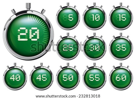 Stopwatch. Set of green detailed digital timers with various seconds - stock vector