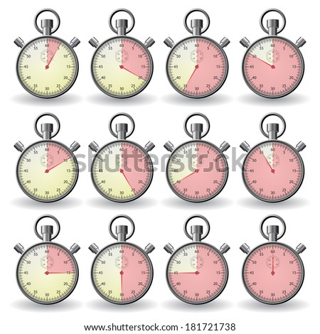 stopwatch showing different time - stock vector