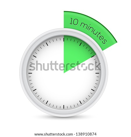 Stopwatch. Vector illustration of 10 minutes timer