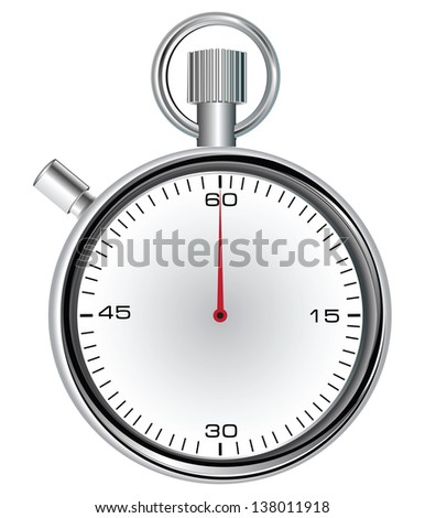 Stopwatch with 60 second dial for timekeeping time. Vector illustration.