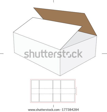 Storage Box with Die-cut Layout - stock vector
