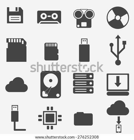 storage data icons set - stock vector