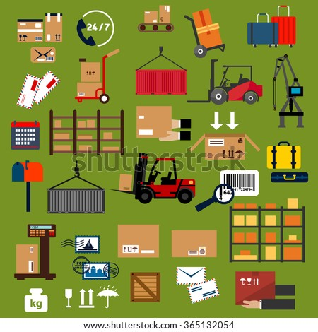 Storage, delivery and logistics icons with packages, containers, cargo crane, forklift and hand trucks with boxes and suitcases, warehouse shelf, scale, parcels, letters, postage and mail box - stock vector