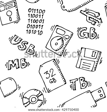 Storage information set. Memory seamless pattern. Background template. Vector stock illustration