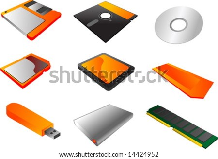 "Storage media, vector illustrations, 3d isometric style: 3 1/2"" floppy diskette, 5 1/4"", cd, sd card, cf card, memory stick, usb pendrive, external hard disk, ram  memory - stock vector"
