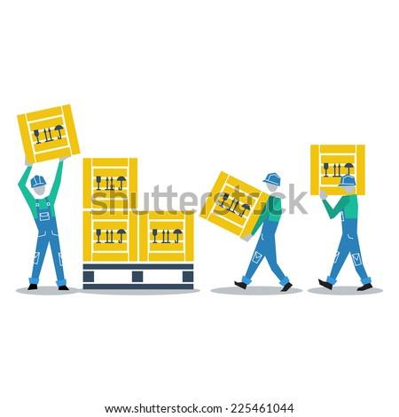 storage workers vector flat design - stock vector