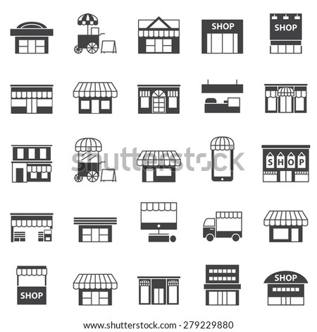 store and building  icon set  - stock vector