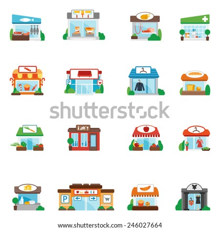 Store and shop buildings commercial restaurants flat icons set isolated vector illustration - stock vector