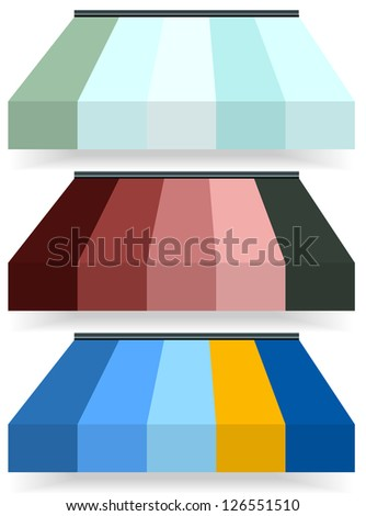 store awnings in multicolor with drop shadow - stock vector