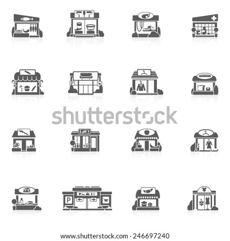 Store buildings market small restaurants black icons set isolated vector illustration - stock vector