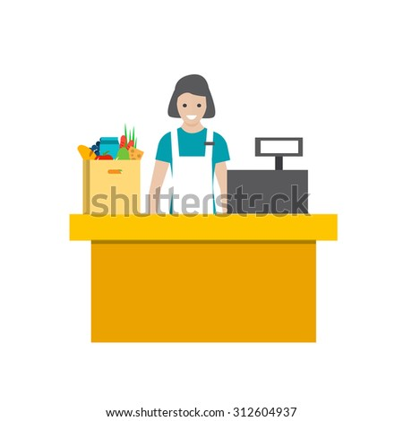 Store cashier in uniform, isolated, vector illustration