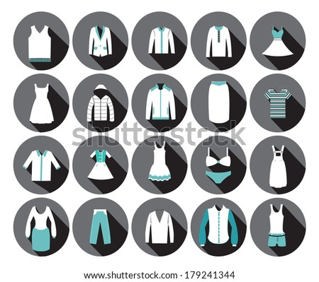 Store Clothing Icons - Illustration Department store clothing Fashion flat. - stock vector