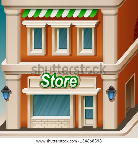 Store facade icon. Vector illustration. - stock vector