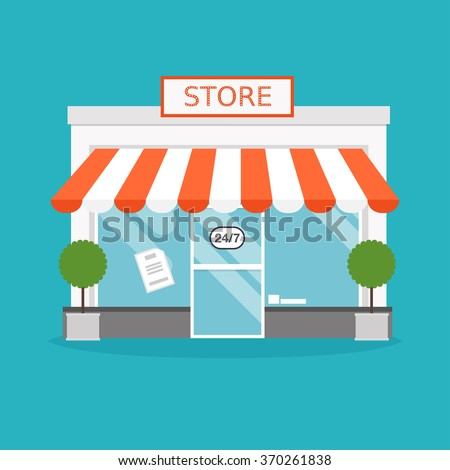 Store facade. Vector illustration of store building. Ideal for business web publications and graphic design. Flat style vector illustration. - stock vector