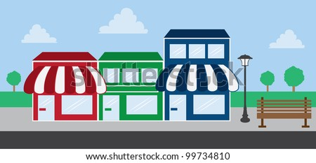 Store front strip mall stores - stock vector
