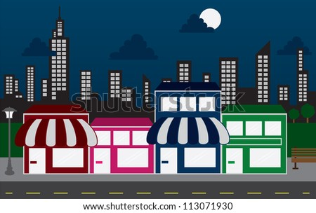 Store front strip mall stores and night city skyline - stock vector