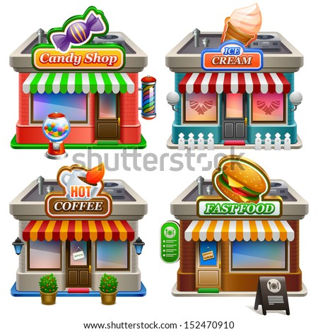 Store icon set. - stock vector