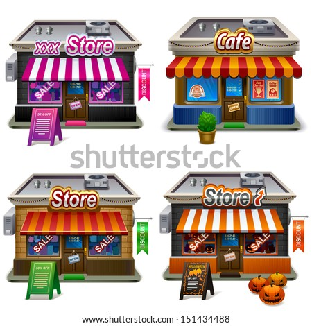 Store icon set. Vector illustration - stock vector