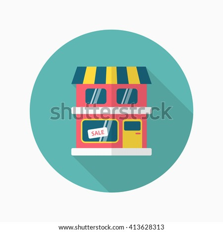 Store icon, Vector flat long shadow design. EPS10