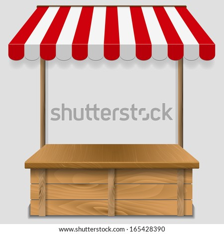 store  kiosk  with striped awning  - vector illustration - stock vector