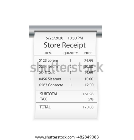 Store or shop paper receipt, isolated on white background, vector illustration. Layout template of cash receipt. Financial check and paper check closeup