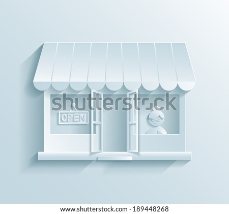 Store paper icon showing a store front with an assistant or customer inside and an awning on the exterior in a retail and commercial concept - stock vector