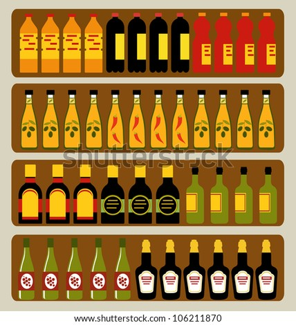 Store shelves with different bottles - stock vector