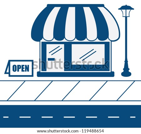 Store shop front in blue with sidewalk - stock vector