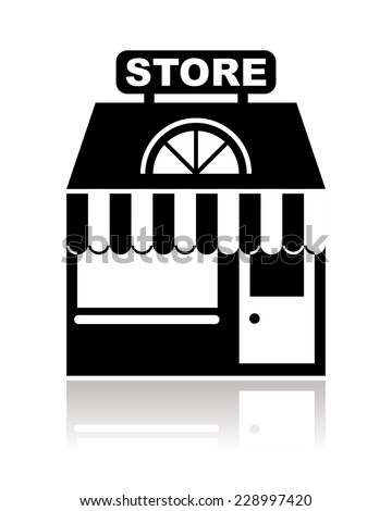 store, shop or market in black and white - stock vector