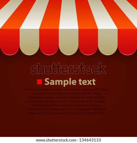 Store striped awning background - stock vector