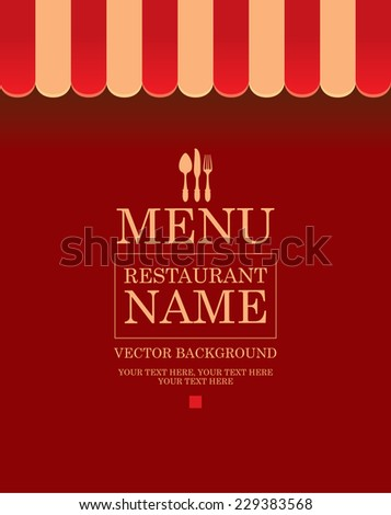 Store striped awning background for menu with cutlery - stock vector