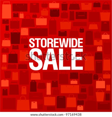 Store wide sale, bright background with shopping bags. - stock vector