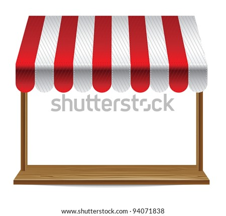store  window  with striped awning  - vector illustration - stock vector