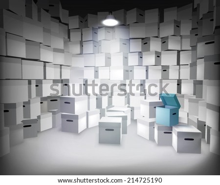 Store with boxes. Vector illustration. - stock vector