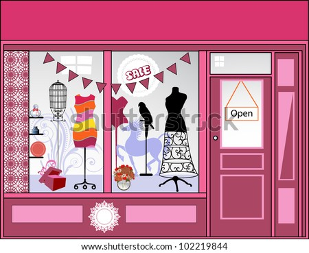 Storefront - lots of different elements - stock vector