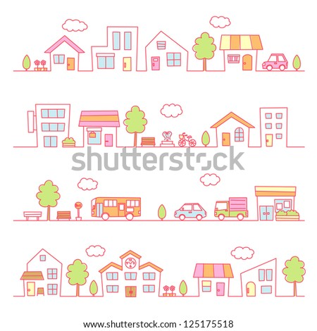 stores and houses on a street / pink color - stock vector